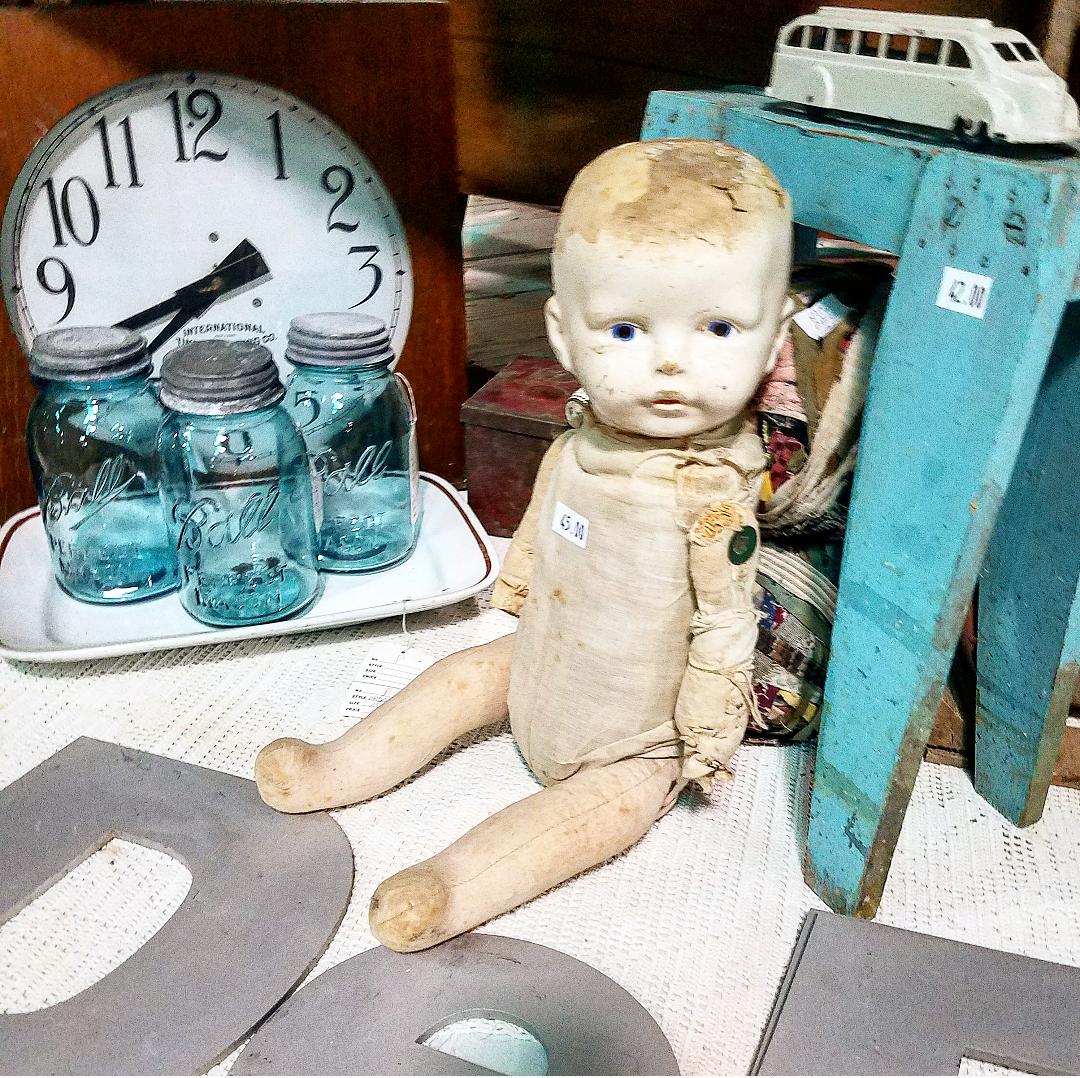 Vintage Market Days booth display old doll