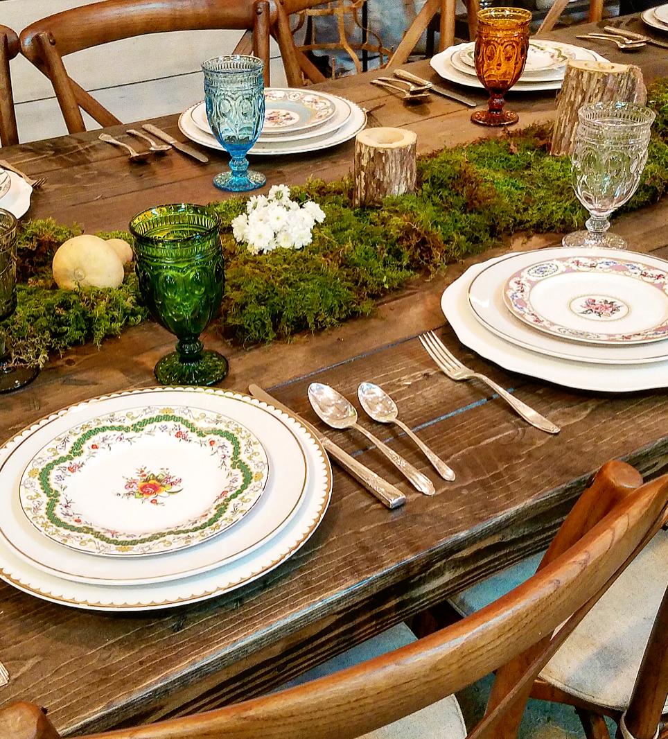 Pretty tablescape vintage mismatched dishes