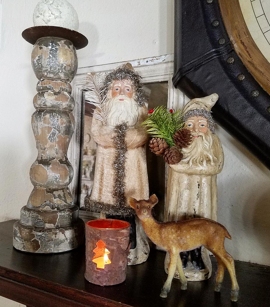 Ragon House Belsnickel Belsnickle Santas woodland mantel winter neutral decor
