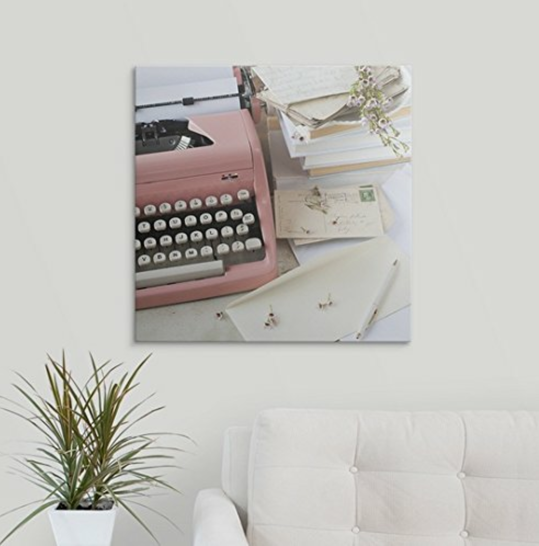Shabby Chic 1960's Decor Trends Pink Typewriter Canvas Print