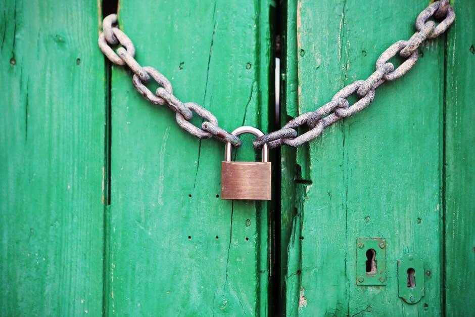 chippy green door old lock