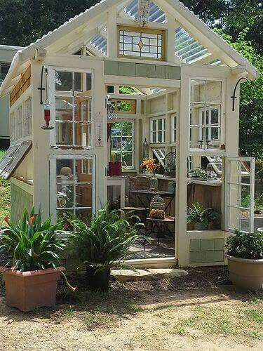 Repurposed Upcycled Old windows greenhouse
