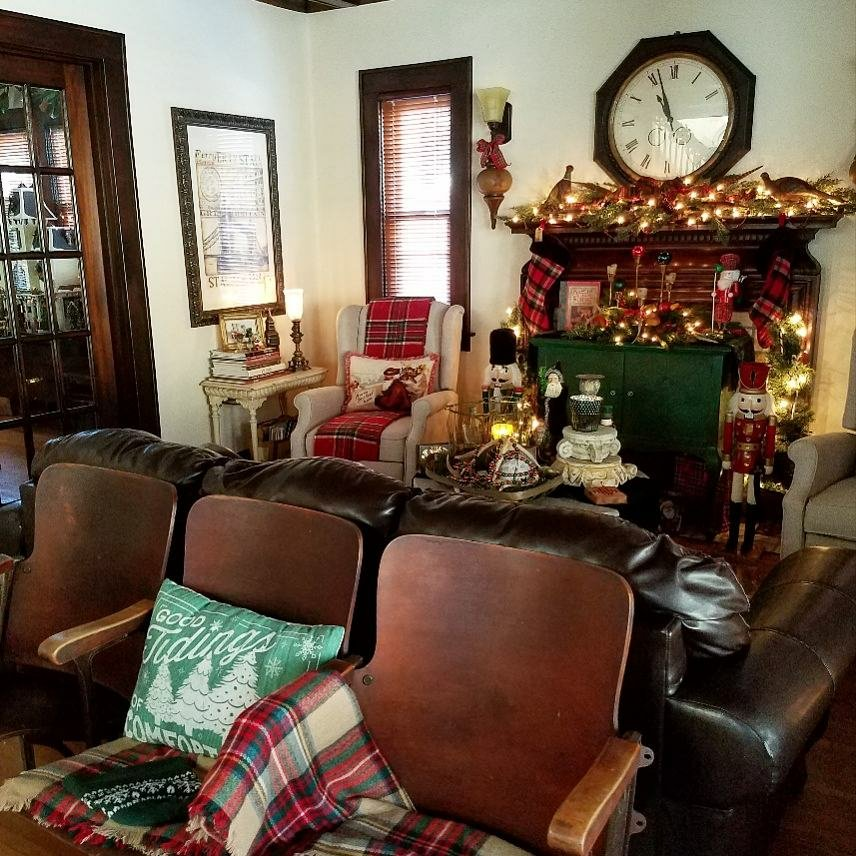 Vintage theater seats decorated for Christmas