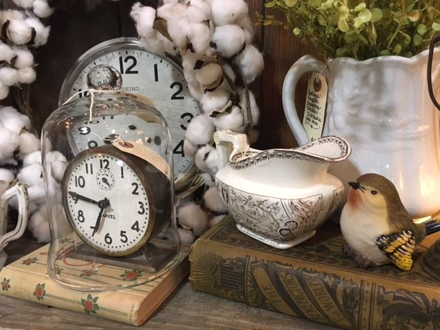 vintage treasures old clocks antique books ironstone and transferware antiques booth