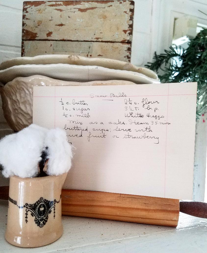 Charming vintage recipe card cotton and transferware farmhouse style ktichen