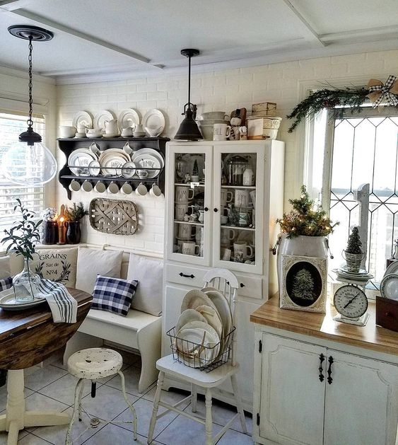 Stunning farmhouse kitchen neutral decor buffalo check magnolia hearth and hand country kitchen