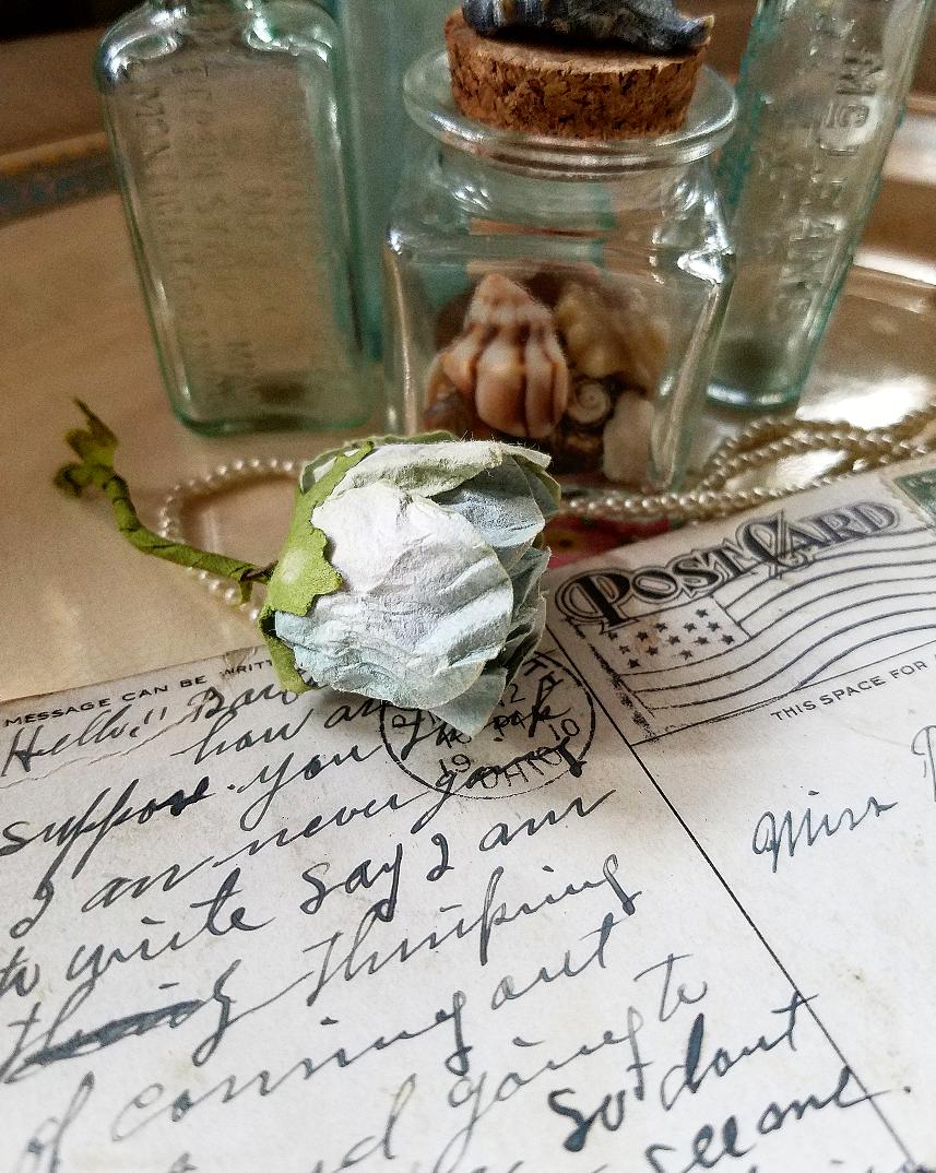Vintage postcard blue rose shabby chic seashells Valentine's Day Vignettes