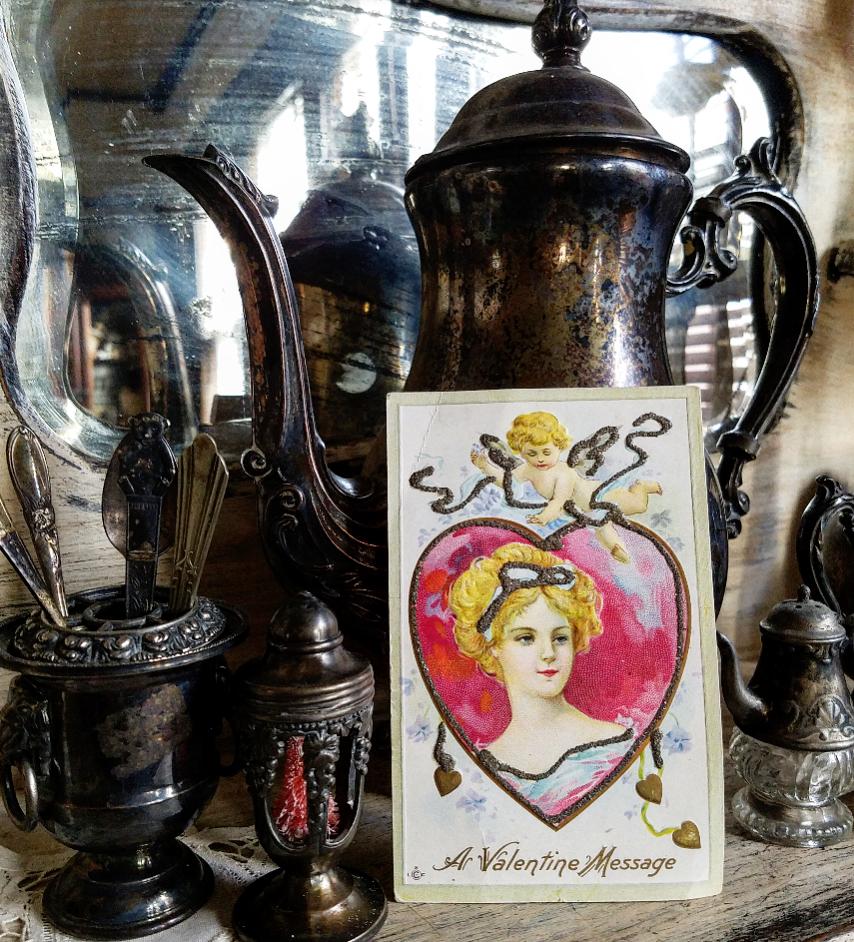 Gorgeous Shabby Chic Valentine's Day Vignette Vintage Silverplate