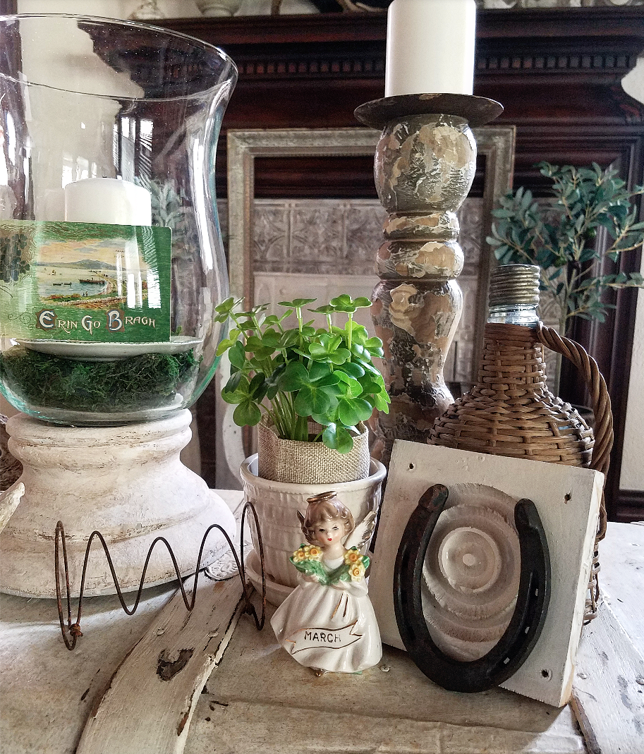 Vintage Vignette March Decor Green Saint Patirck