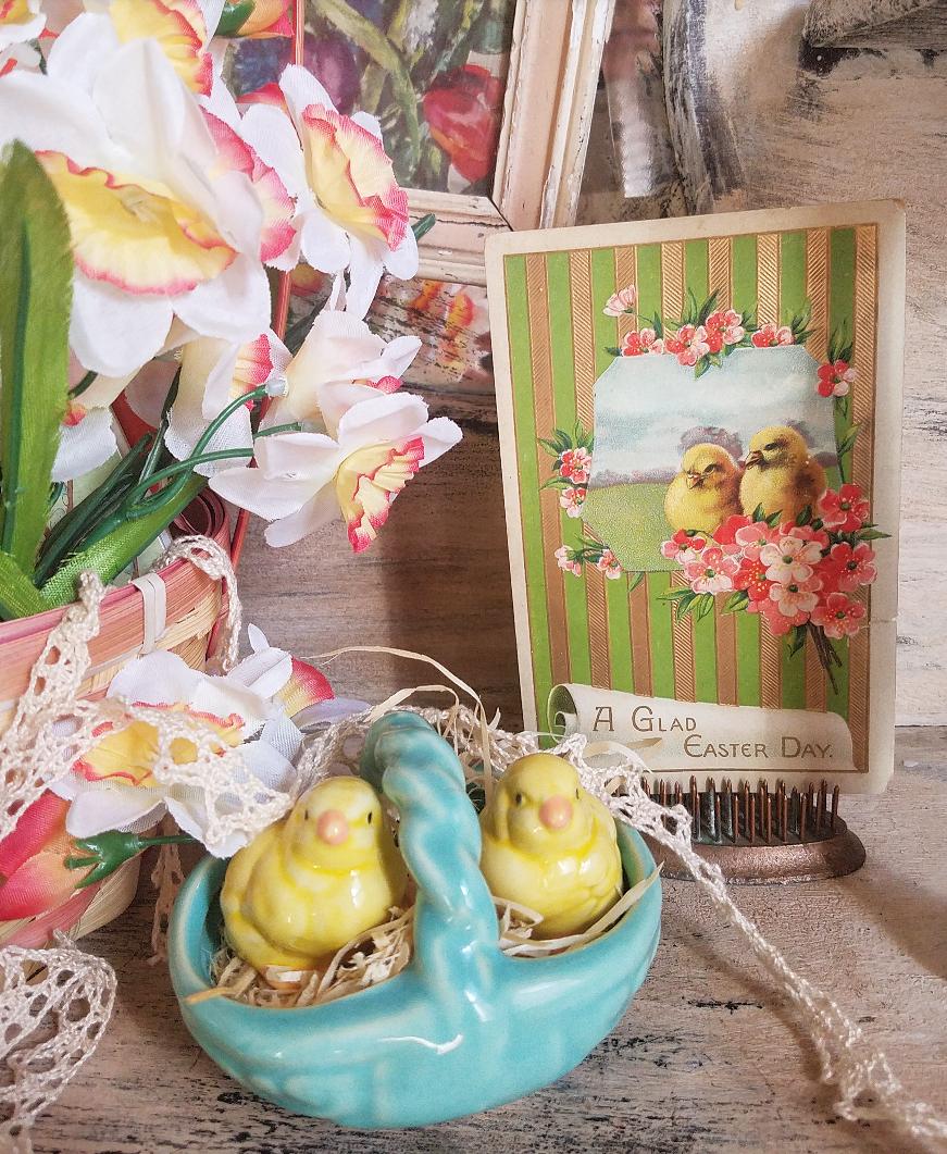 vintage Easter Postcard two chicks pink flowers