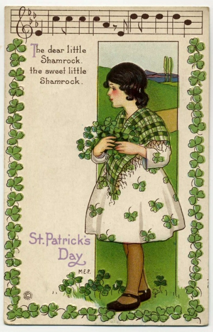Vintage Saint Patrick's Day post card music notes