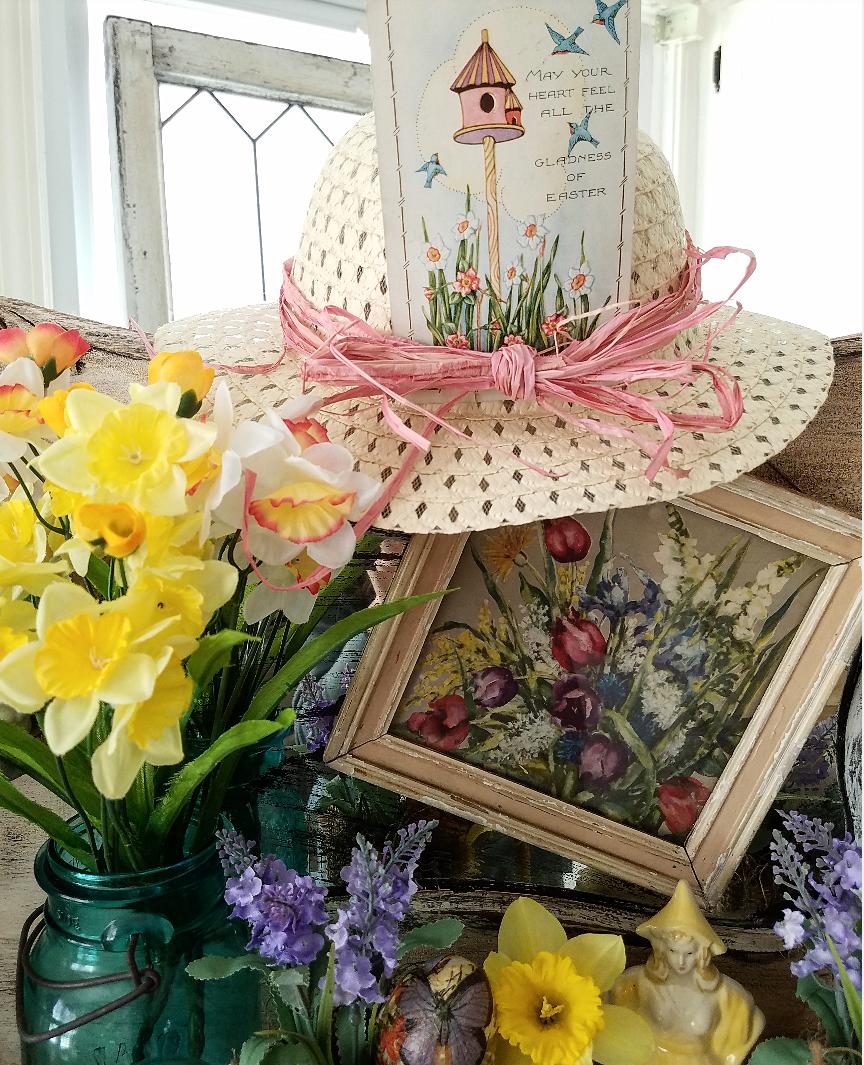 A collection of vintage Easter Treasures Vintage ball mason jar dutch girl planter