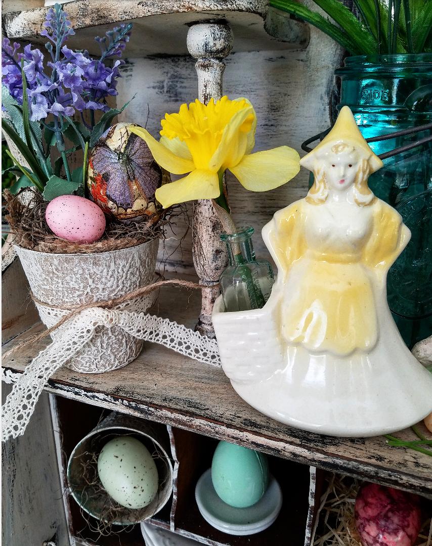 Vintage Easter Dutch Girl Planter Yellow