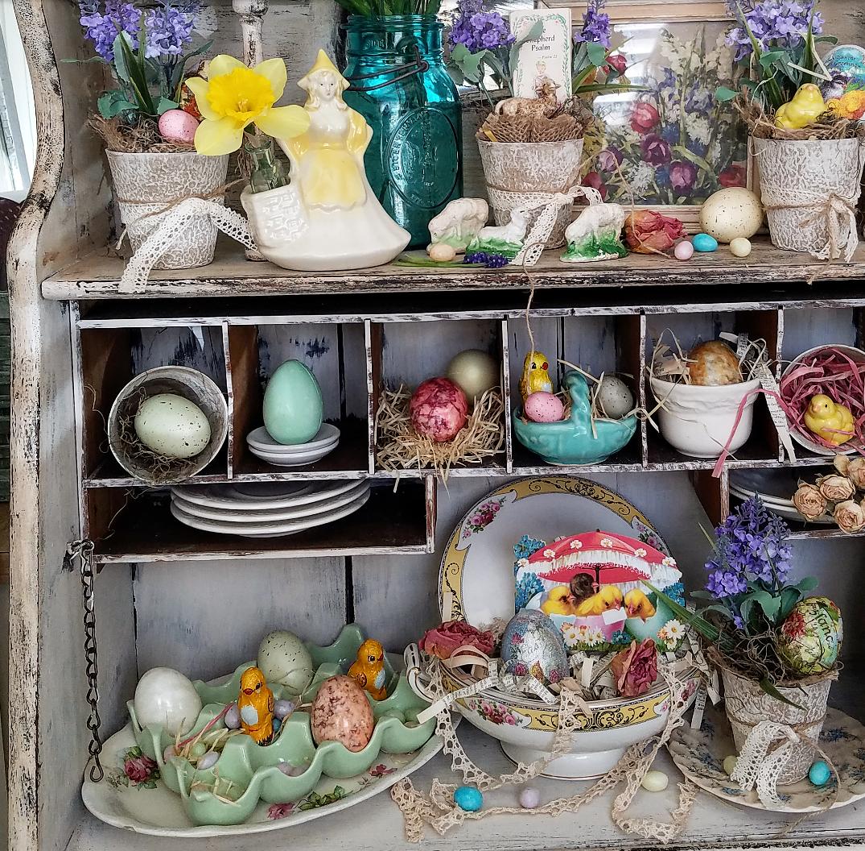 A Vintage Secretary full of vintage Easter treasures