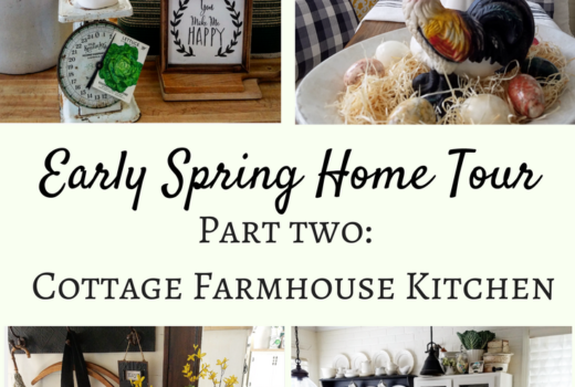 Early Spring Home Tour Cottage Farmhouse Kitchen Decorating Ideas Easter decorating spring decorating farmhouse style Rae Dunn Hunter Boots spring decor