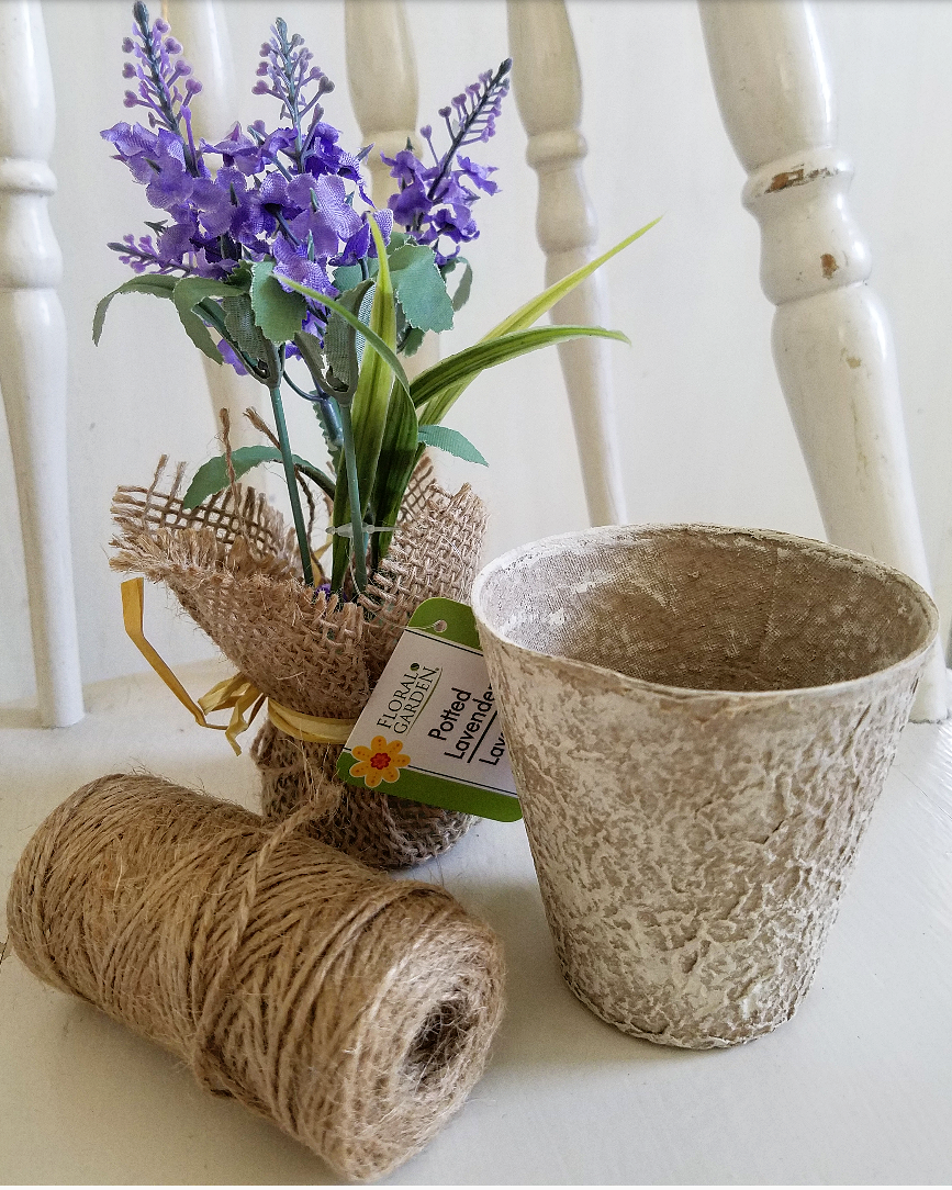 faux lavender wrapped in burlap, natural seed pot, jute twine from Dollar Tree