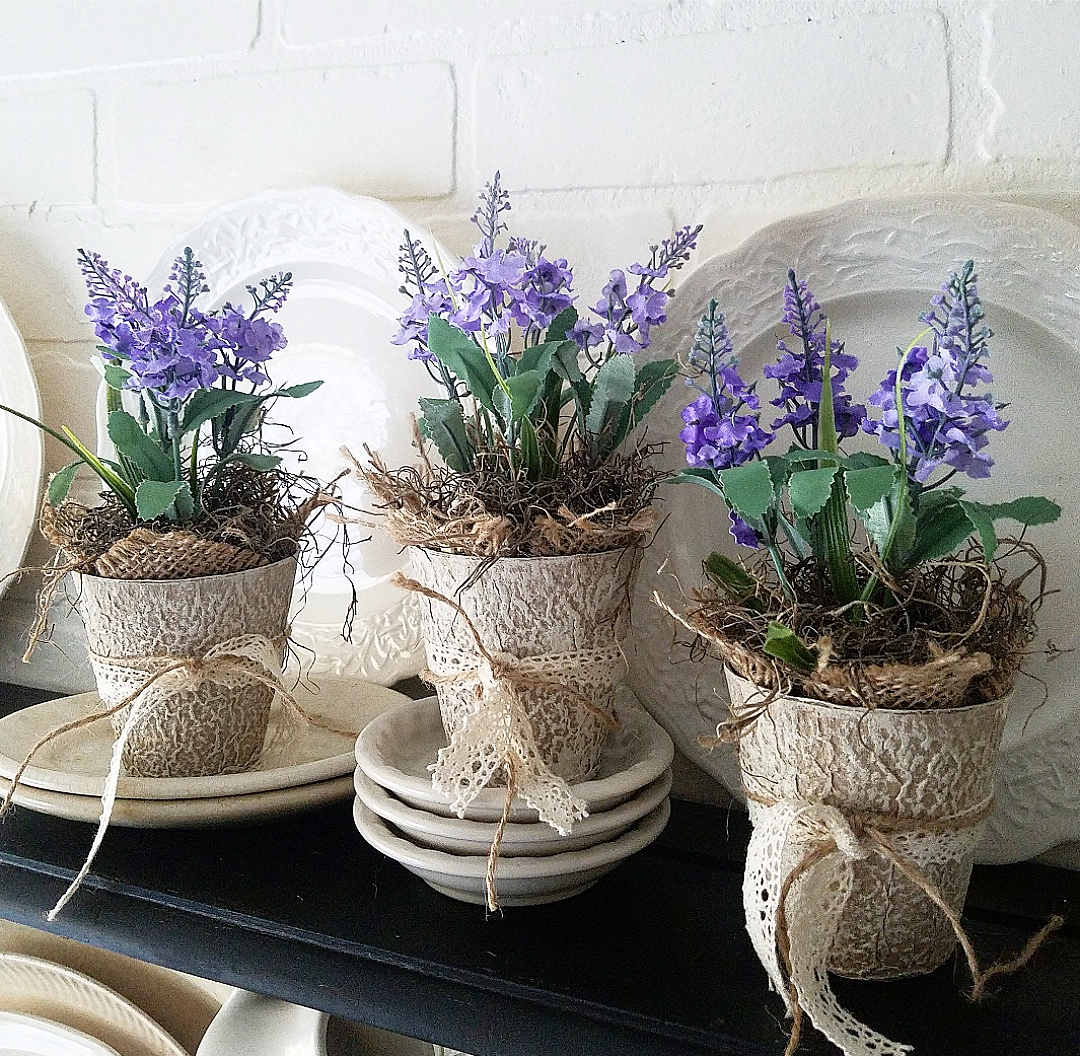 Faux lavender peat pot craft French Country craft ideas