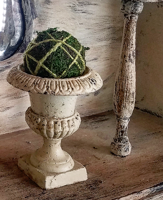 Small French Vintage Garden Urn With Moss Sphere