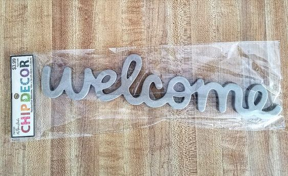 Welcome chip board sign wreath ideas