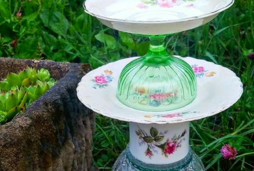 VIntage dishes totem bird feeder