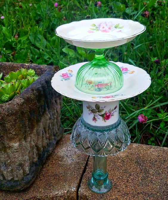 vintage dishes garden art totem repurposed vintage dishes as bird feeder garden art upcycled dishes garden art