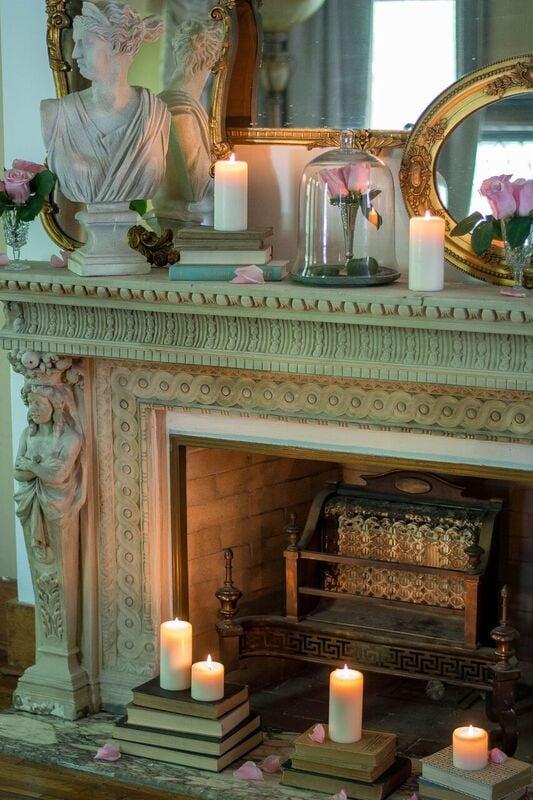 gorgeous European stone mantel French euro interior style romantic homes