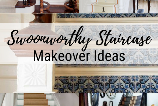 Swoonworthy Staircase makeover ideas painted staircases painted stairs painted stair runner grain stripe stair runner wallpaper stairs stenciled stairs