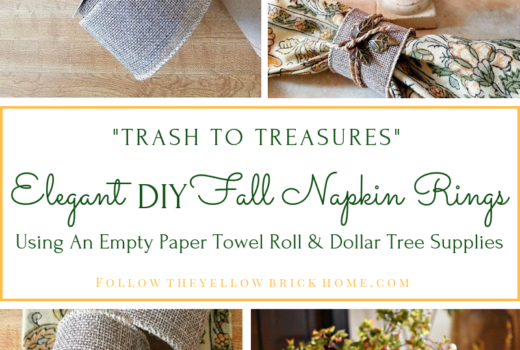 DIY fall Napkin Rings Burlap Napkin RIngs made from a paper towel roll and dollar tree supples