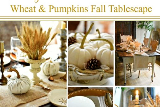 Vintage French Farmhouse Wheat and Pumpkins Fall Tablescape