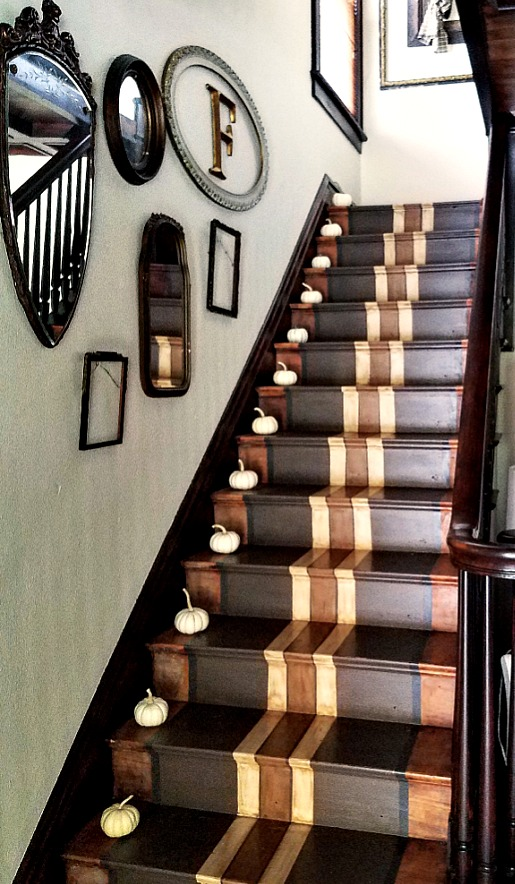 beautiful painted stair runner painted stairs pumpkins up stair case white mini-pumpkins baby boos fall decor ideas