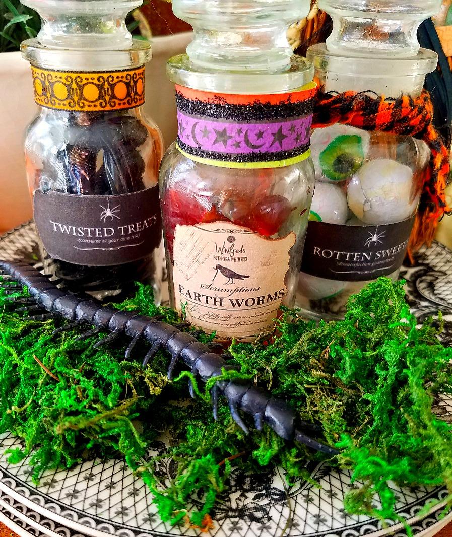 DIY Halloween Treats repurposed Spice Jars