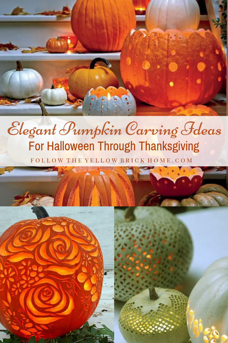 Elegant pumpkin carving ideas that can be used all fall long. Great for Halloween or Thanksgiving