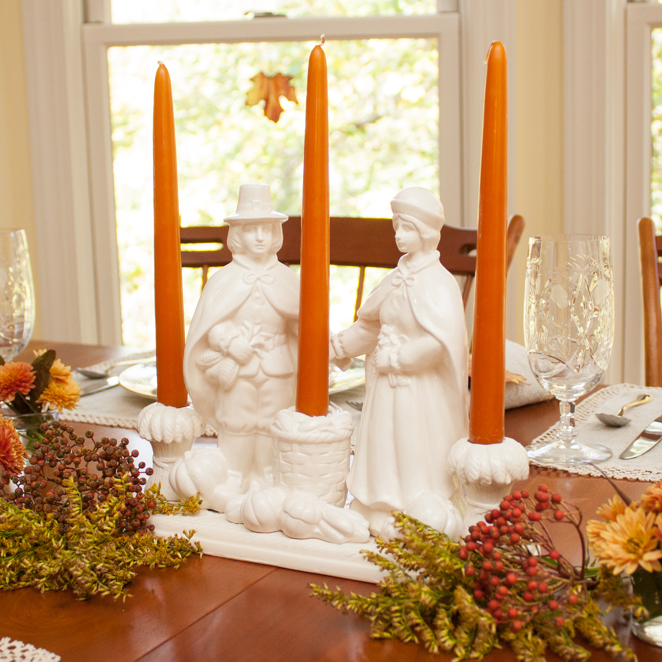 Beautiful orange and white Thanksgiving Tablescape Pilgrims Thanksgiving