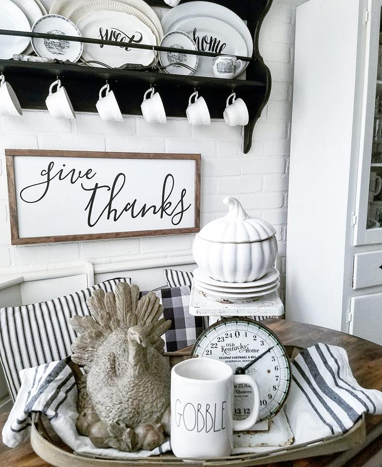 Farmhouse sign Give Thanks fall farmhouse kitchen Thanksgiving Farmhouse Rae Dunn Gobble
