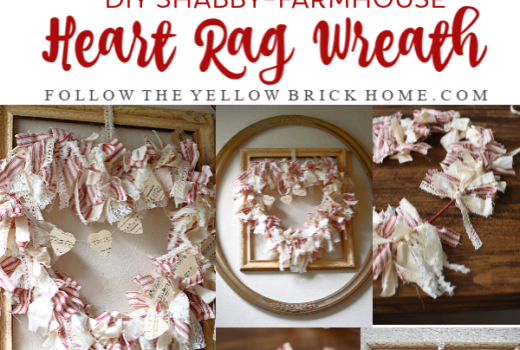 DIY Shabby Farmhouse Heart Rag Wreath Red Ticking Stripe Rag Wreath for Valentine's Day