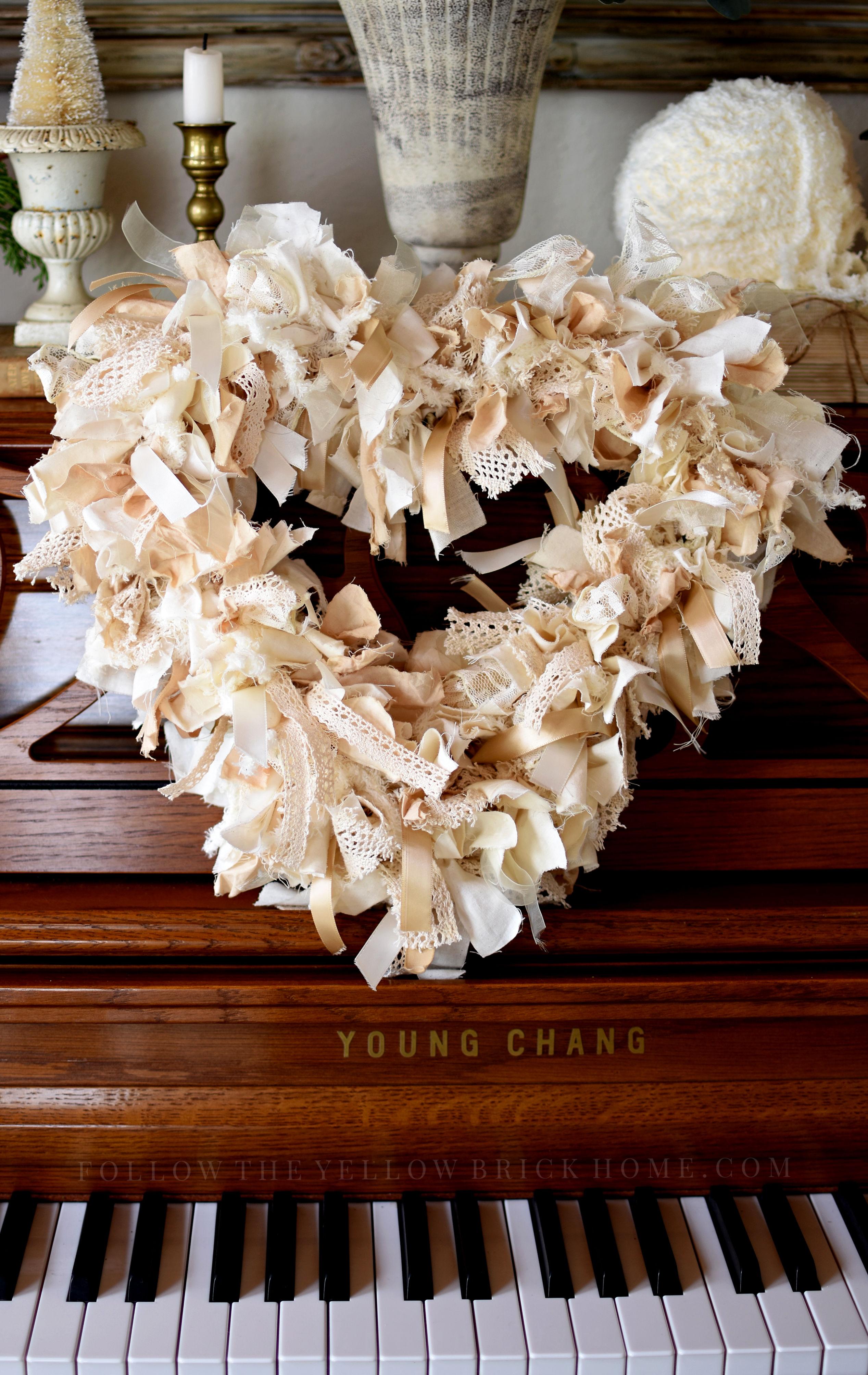 Custom farmhouse heart rag wreath by Amber Lyon Ferguson of Follow The Yellow Brick Home blog