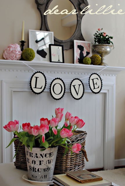 chic Valentine's Day Decor Love Banner PInk Tulips
