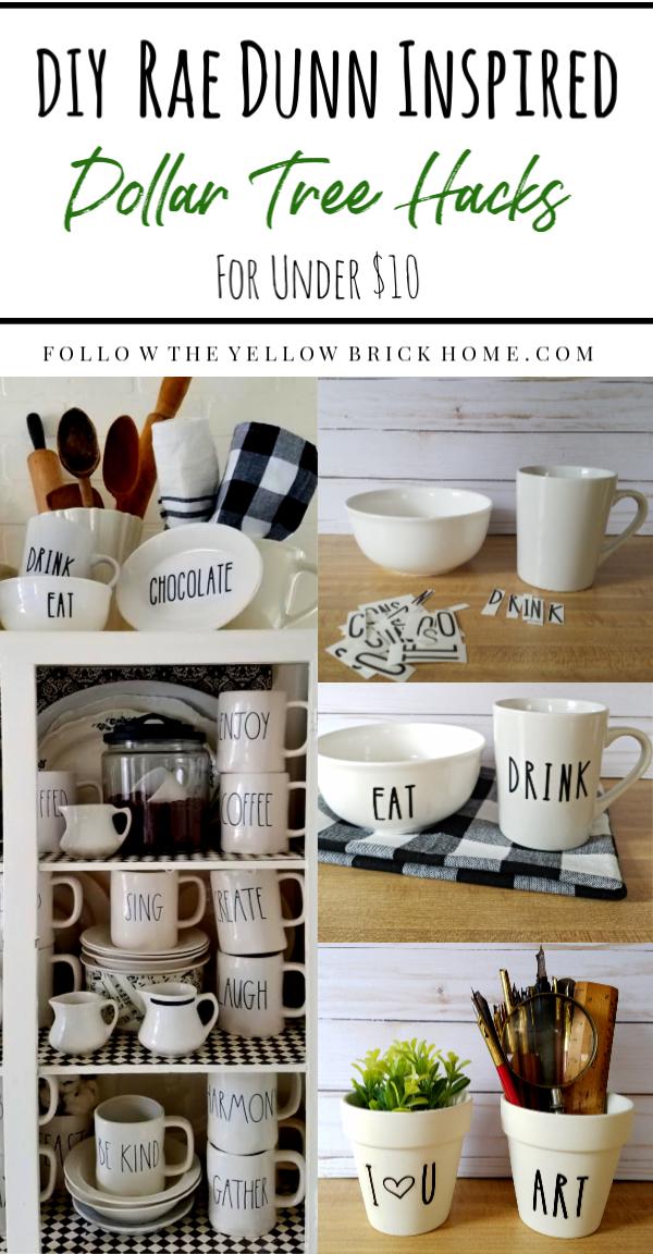 Follow The Yellow Brick Home Diy Rae Dunn Inspired Dollar Tree Hacks For Under 10 00
