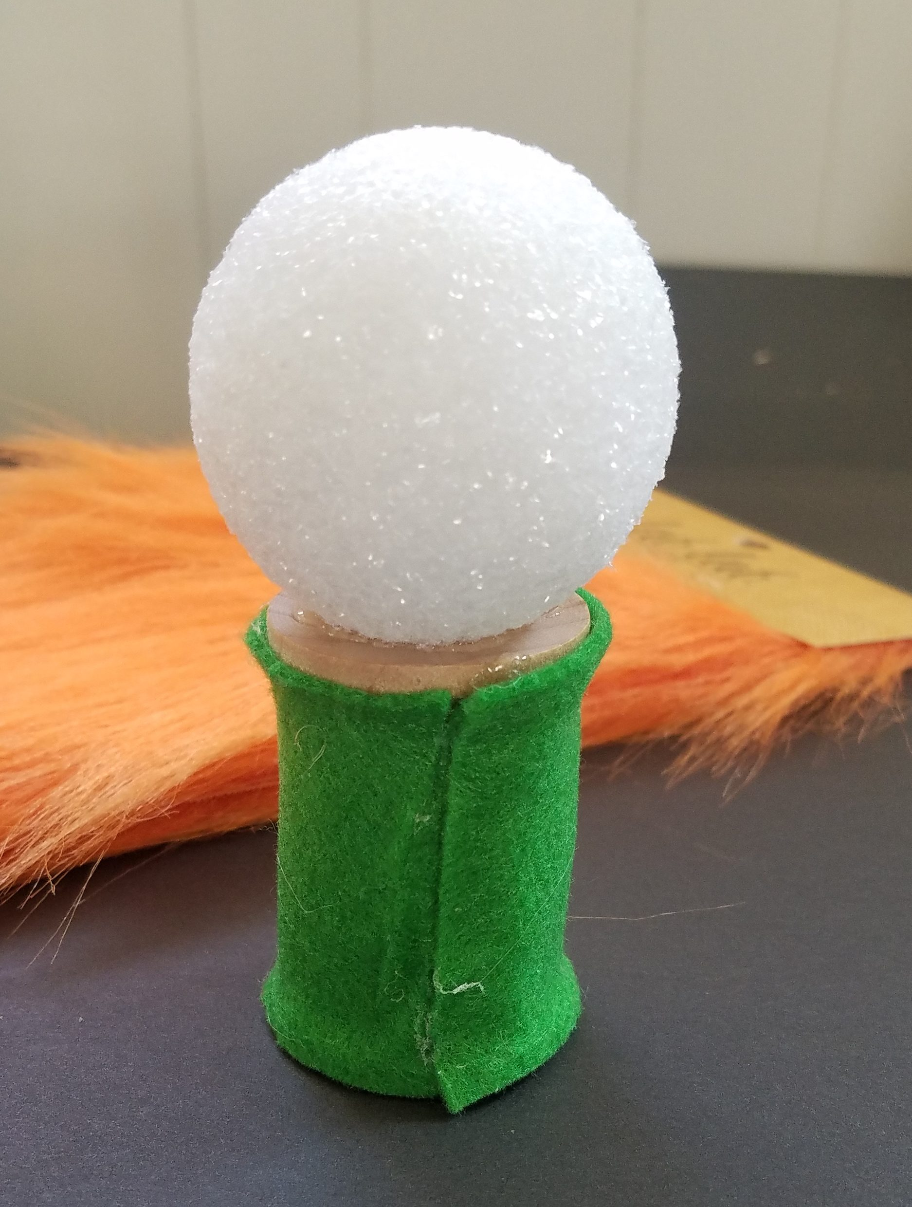 Easy DIY Gnome using styrofoam ball and thread spool