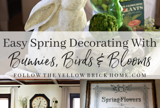 Easy Spring Decorating Ideas using bunnies, birds, and blooms Spring Home Tour
