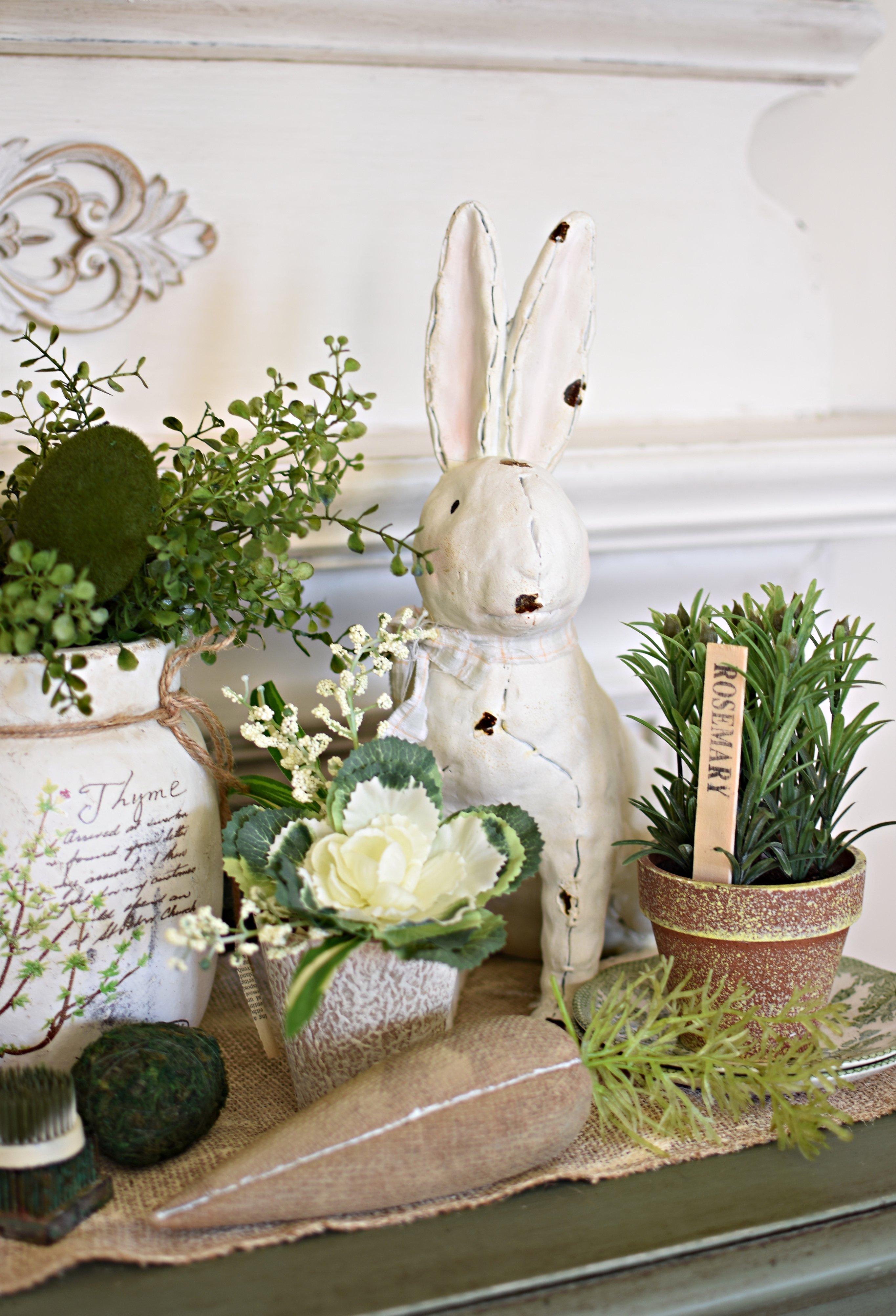Cute Spring Vignette garden style spring decor herbs bunny shabby chic Easter