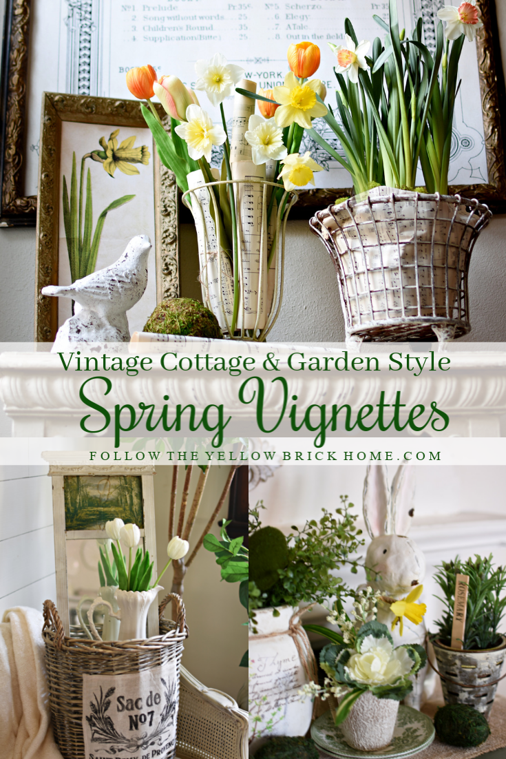 Vintage Cottage Style and Garden Style Spring Vignettes