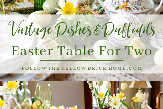 Beautiful Easter Table For Two With Vintage Dishes and Daffodils. Cute Easter Decorating Ideas