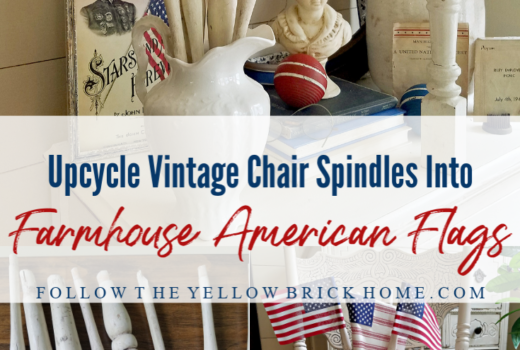 DIY Farmhouse American Flags using vintage chair spindles upcyled chair spindle American Flags