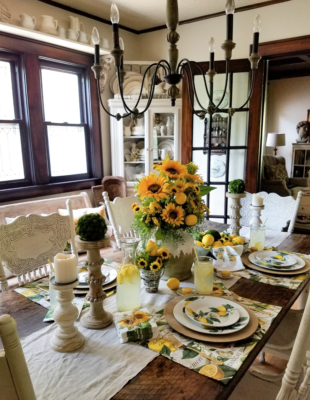 Follow The Yellow Brick Home French Farmhouse Lemons And Sunflowers Tablescape Follow The Yellow Brick Home