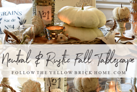 neutral and rustic fall tablescape fall farmhouse tablescape white pumpkins