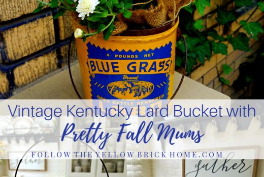 Vintage Kentucky lard bucket Bluegrass brand lard bucket yellow and blue lard bucket with white mums