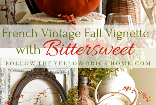 French Vintage Fall Vignette Bittersweet Vine Fall Decorating Fall Vignette with Bittersweet Decorating with Bittersweet for fall