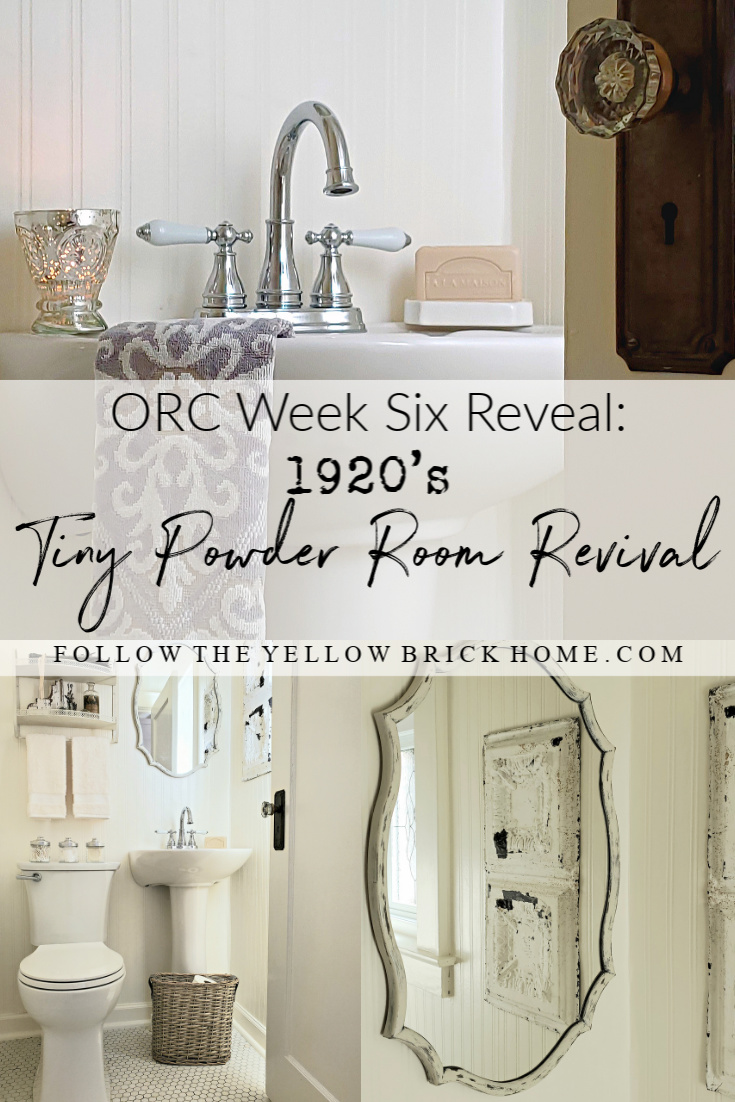 Follow The Yellow Brick Home Beautiful 1920 S Powder Room Makeover With Original Hex Tile Floor