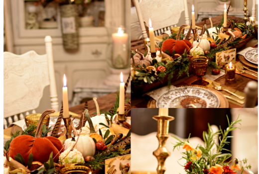 raditional Thanksgiving tablescape with candlelight for elegance
